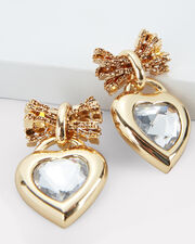 Elora Crystal Heart Earrings, GOLD, hi-res