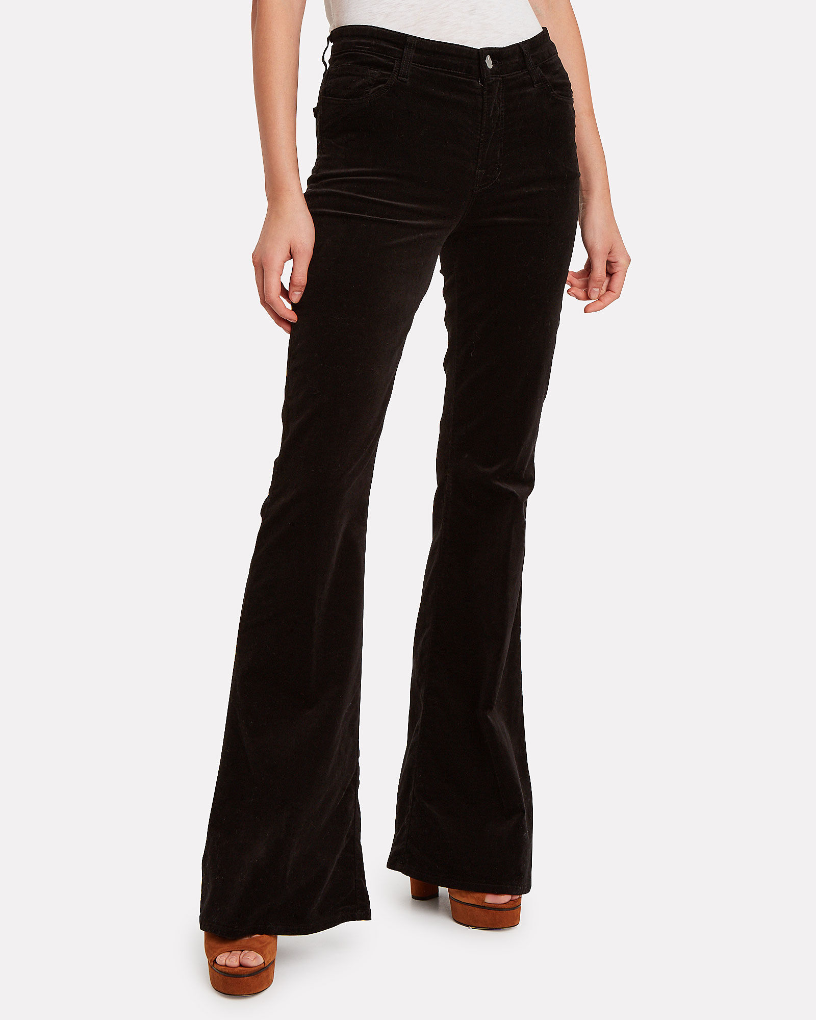 Valentina Flared Velvet Pants, BLACK, hi-res