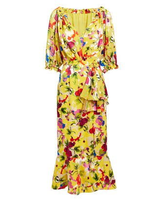 Olivia Floral Midi Dress, YELLOW/RED FLORAL, hi-res