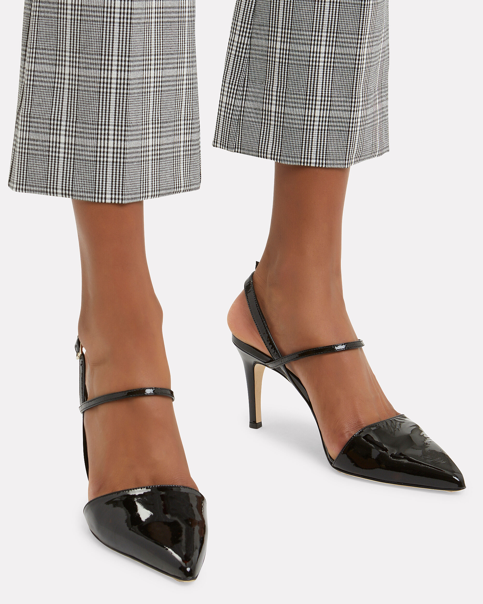 Eli Black Patent Leather Slingback Pumps, BLACK, hi-res