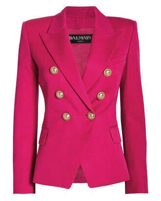 Double Breasted Wool Blazer, FUCHSIA, hi-res