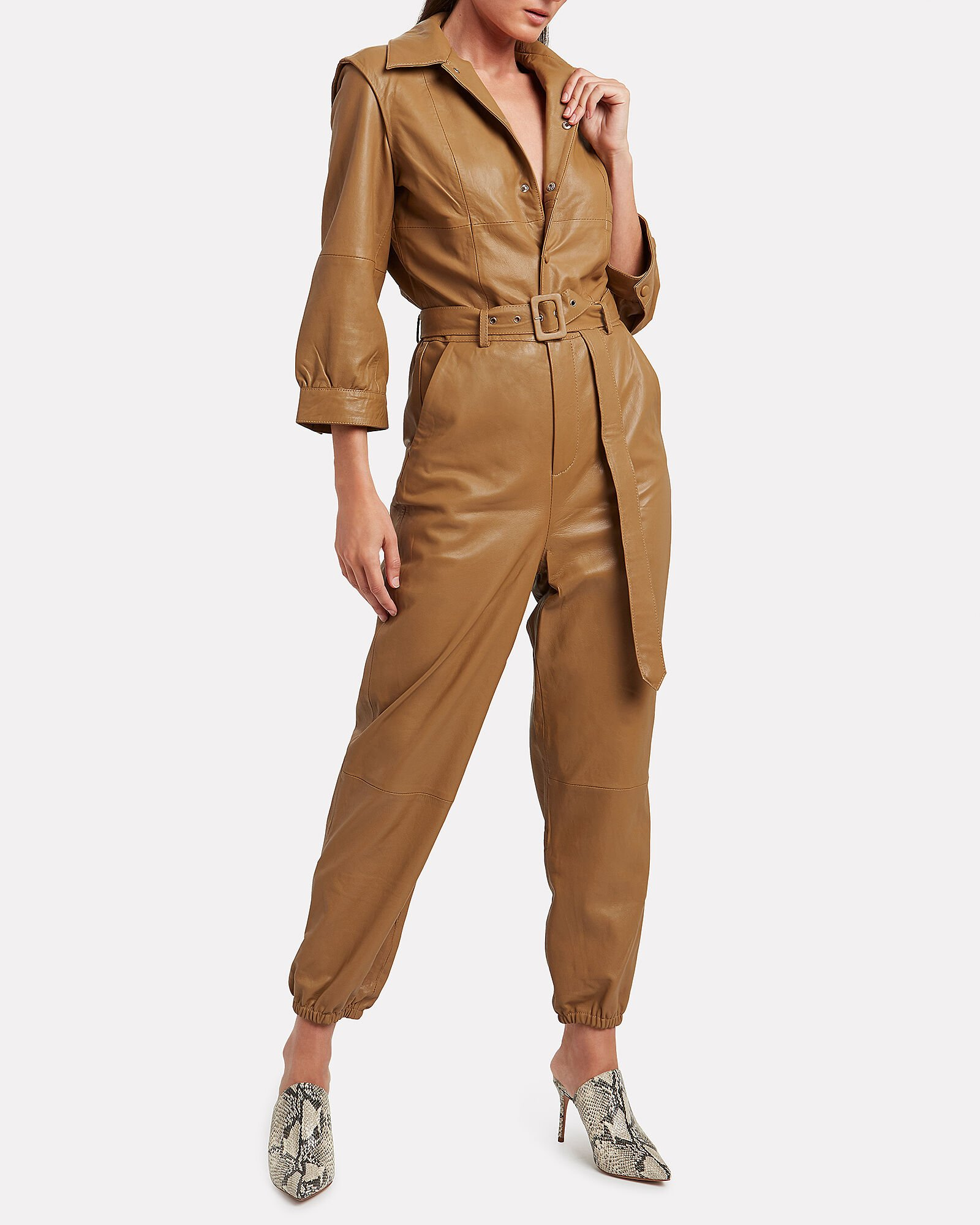 Iffi Leather Jumpsuit, BROWN, hi-res