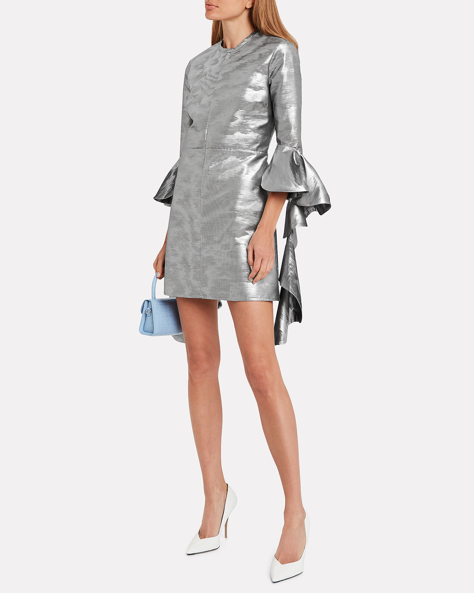 Kilkenny Frill Sleeve Mini Dress, SILVER, hi-res