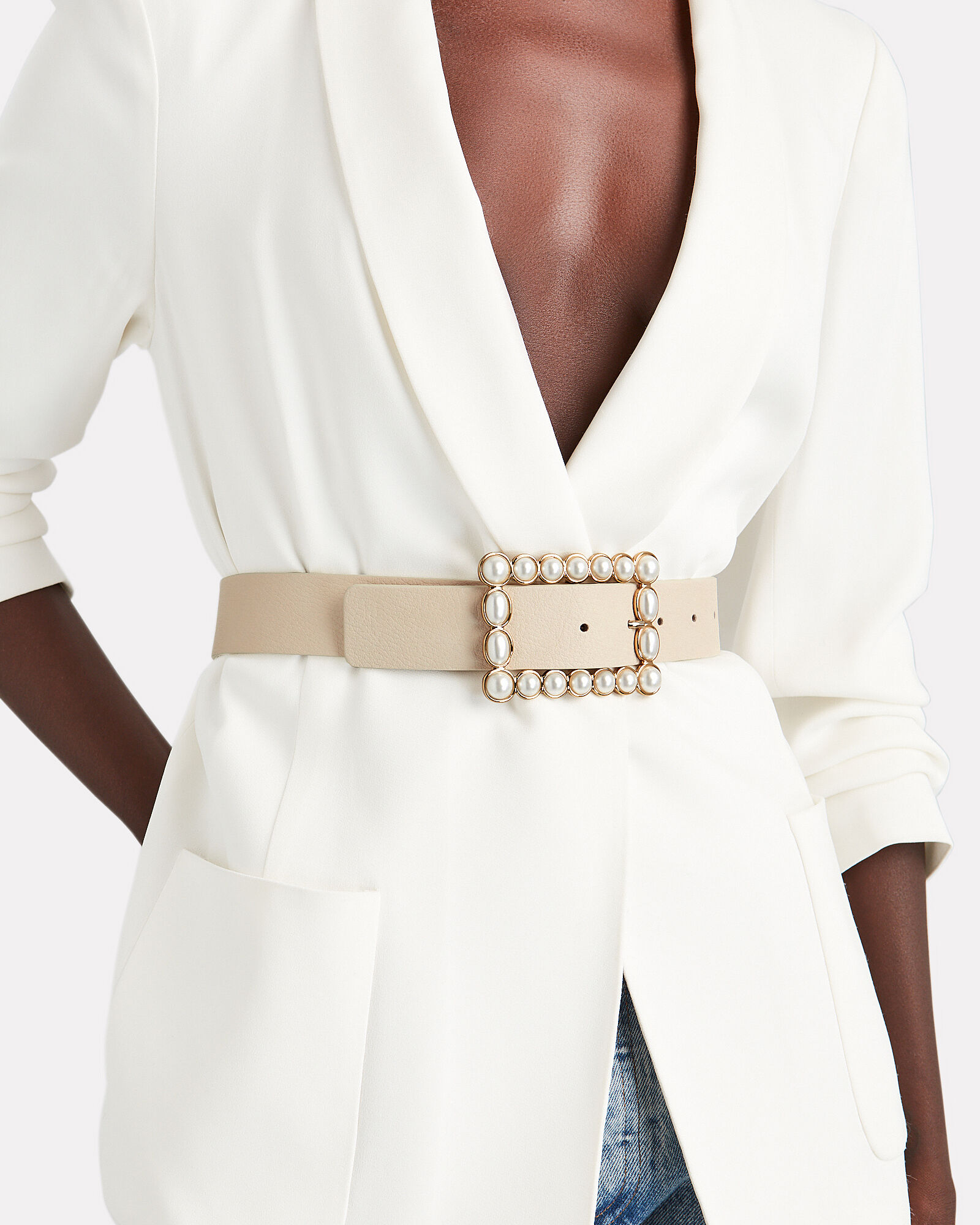 Joan Faux Pearl Buckle Belt, IVORY, hi-res