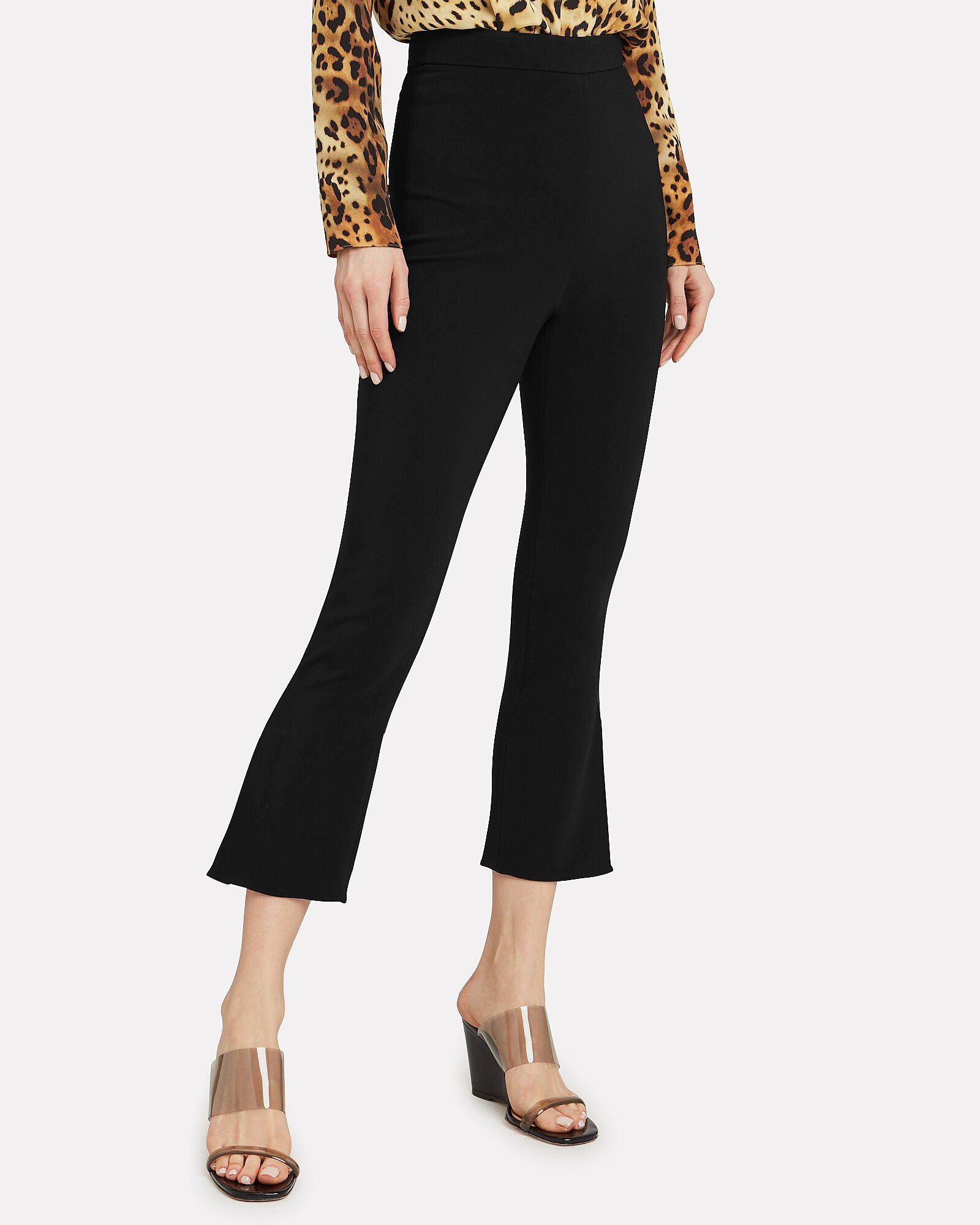 High-Rise Cropped Stretch Pants, BLACK, hi-res