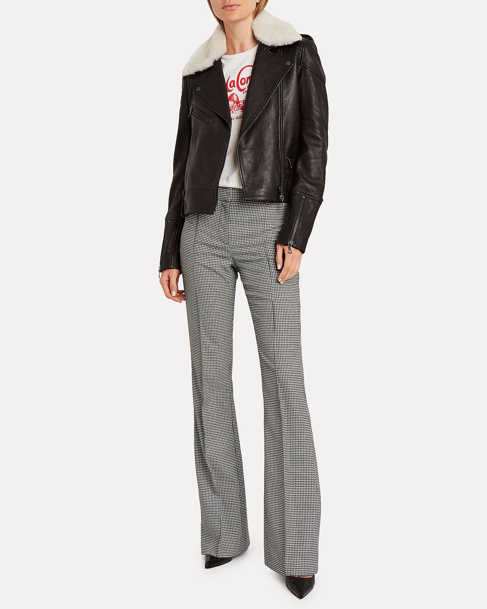 Hibiscus Houndstooth Flared Trousers, BLK/WHT, hi-res