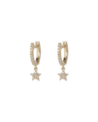 Mini Huggie Diamond Star Hoop Earrings, GOLD, hi-res