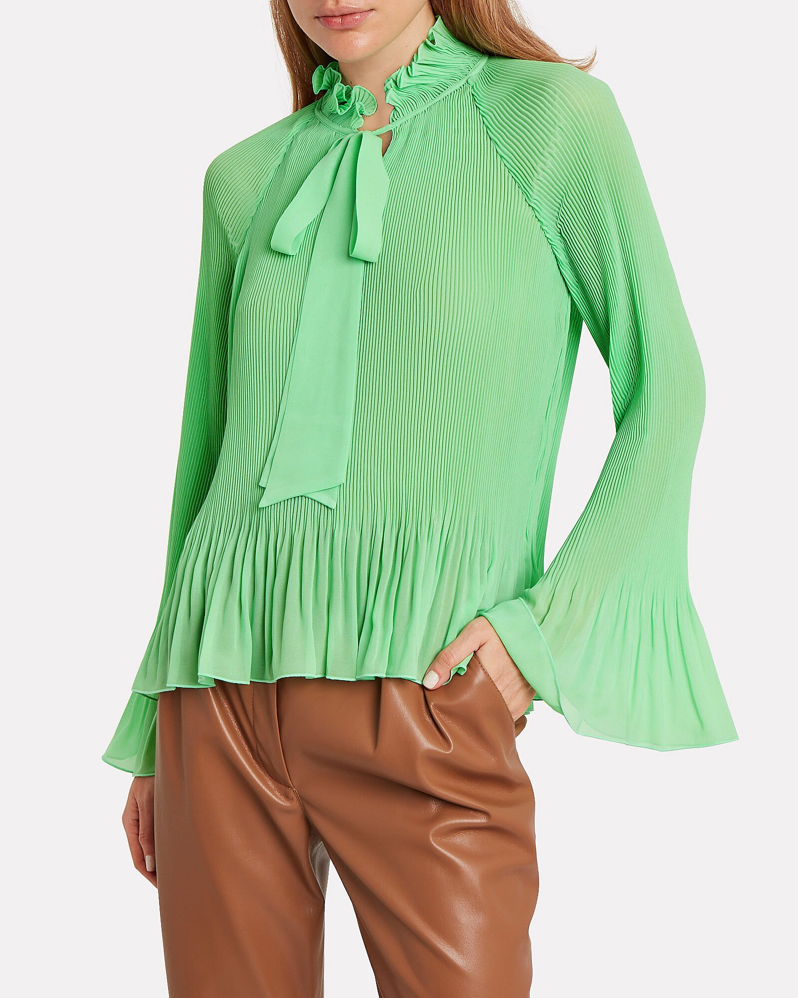 Pleated Tie Neck Blouse, GREEN-LT, hi-res