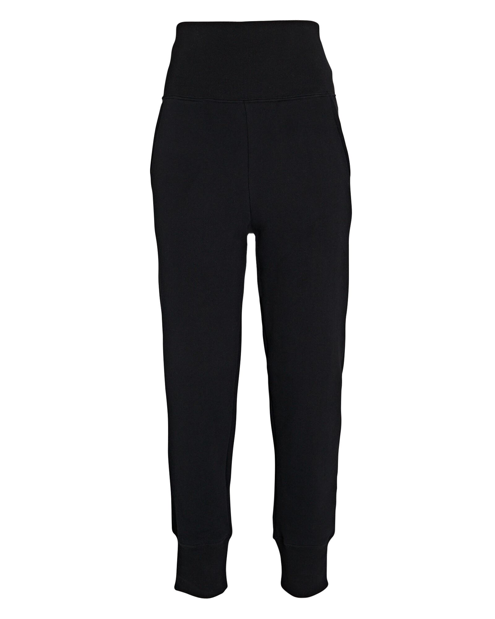 So High-Waisted Terry Sweatpants, BLACK, hi-res