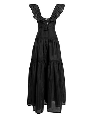 Salino Silk Ruffle Dress, BLACK, hi-res