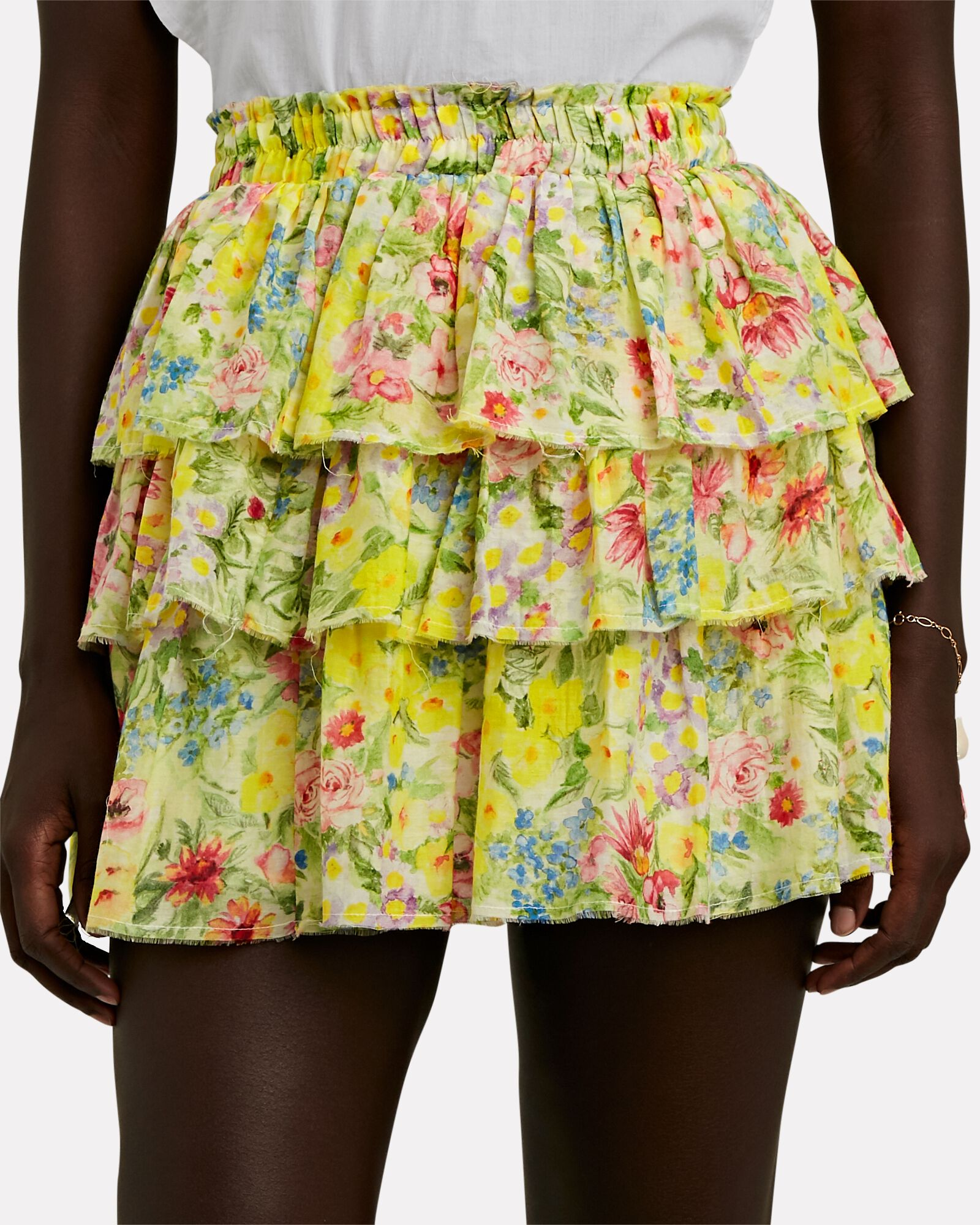 Brynlee Ruffled Floral Mini Skirt, YELLOW, hi-res