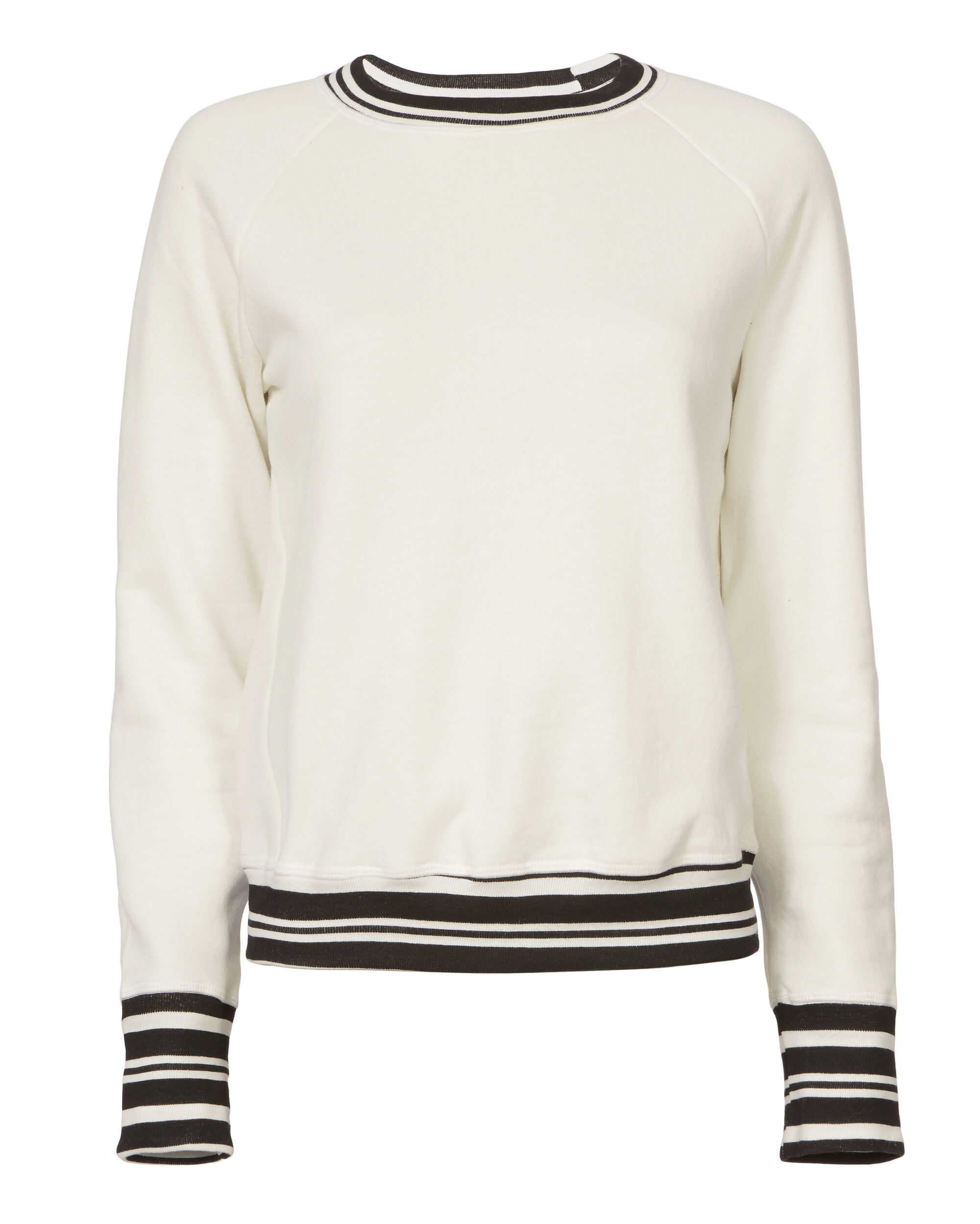 Striped Raglan Knit Sweatshirt, WHITE, hi-res