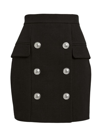 Button-Embellished Mini Skirt, BLACK, hi-res