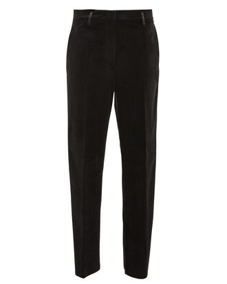 Golden Velvet High-Rise Trousers, BLACK, hi-res