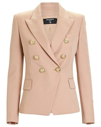 6-Button Grain de Poudre Blazer, BLUSH, hi-res