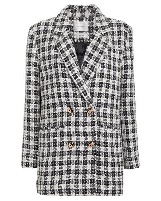 OpheliaGZ Double-Breasted Tweed Blazer, BLACK/WHITE, hi-res