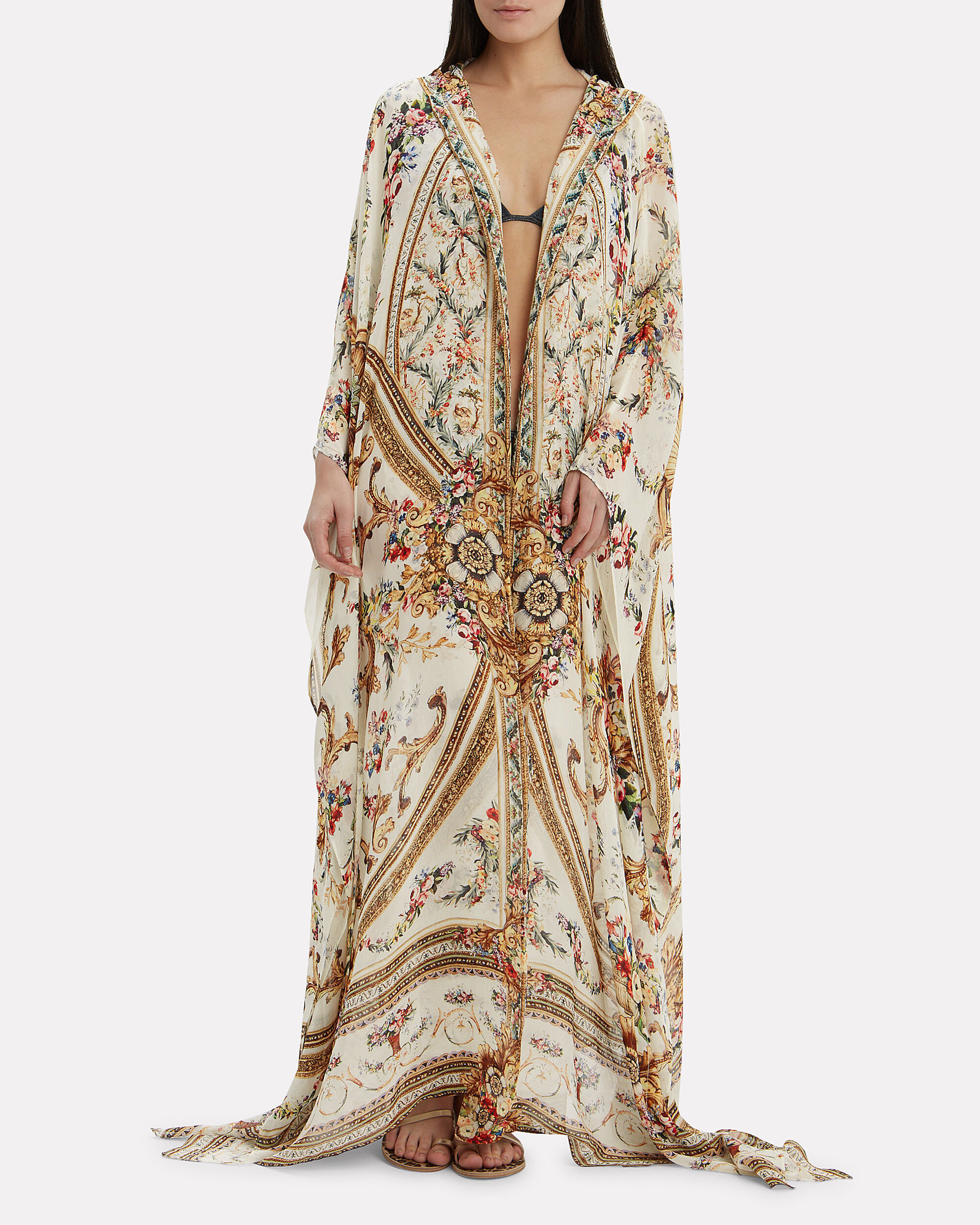 Olympe Ode Oversized Robe, WHITE/GOLD, hi-res