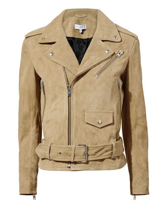 Guape Moto Suede Jacket, BROWN, hi-res