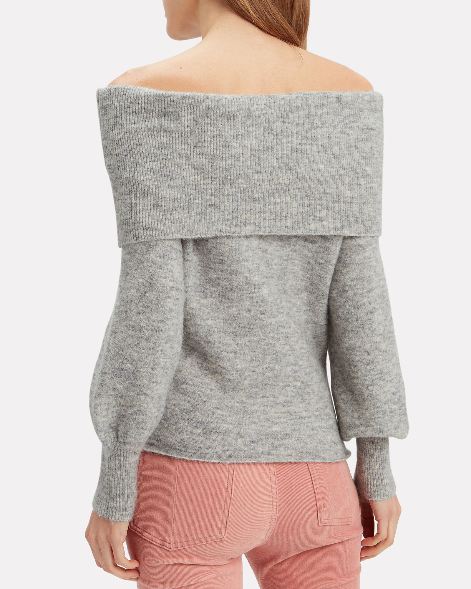 Off The Shoulder Sweater, GREY, hi-res