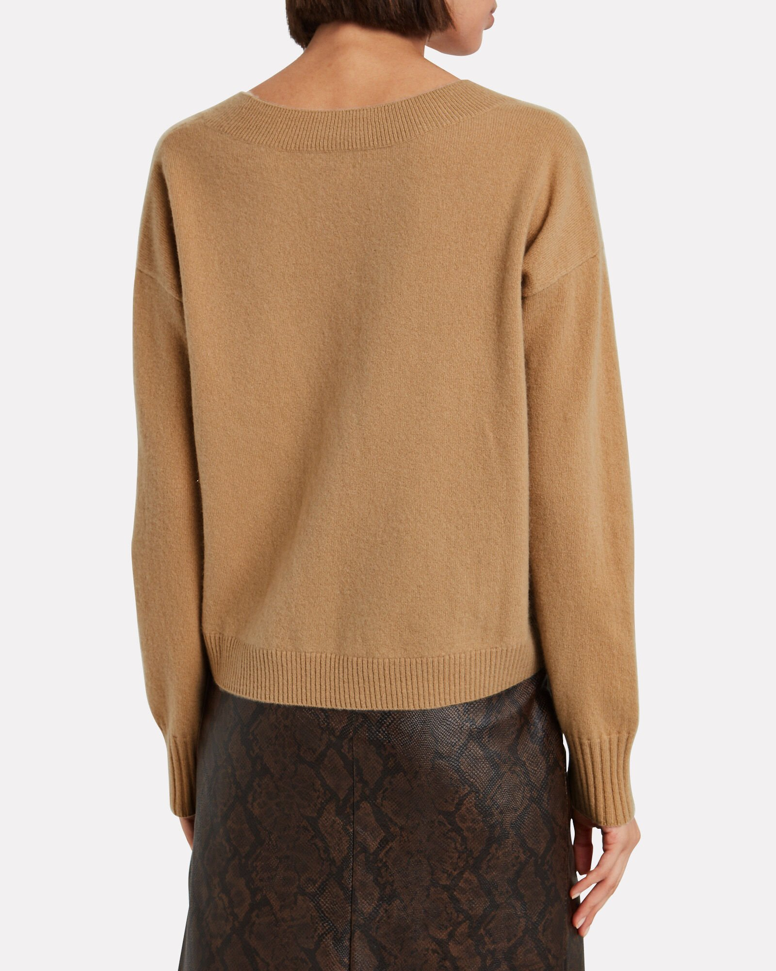 Elroy V-Neck Cashmere Sweater, BEIGE, hi-res
