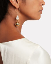 Pagoda Mismatched Pearl Earrings, GOLD, hi-res