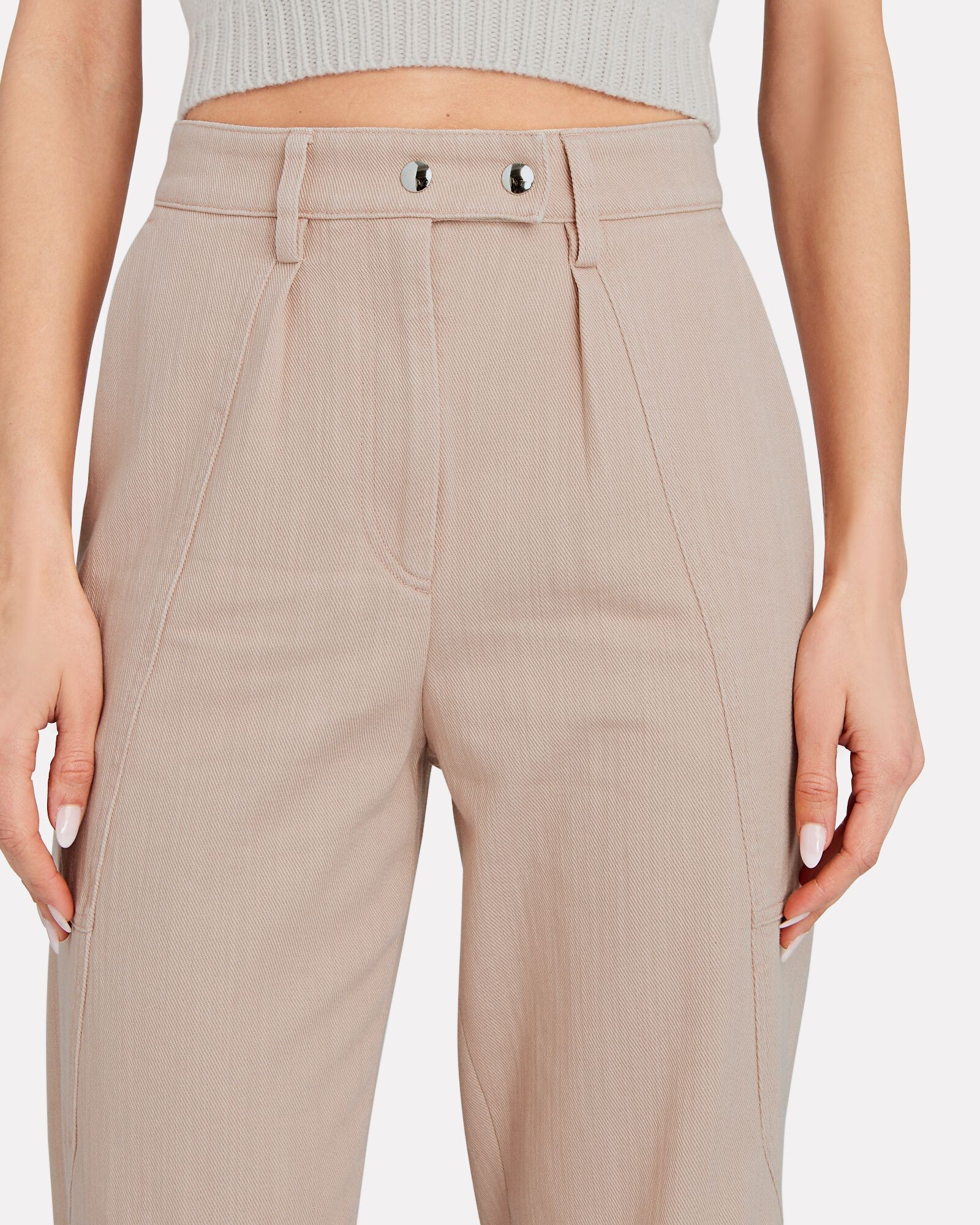 Viklay High-Rise Cotton Trousers, PINK, hi-res