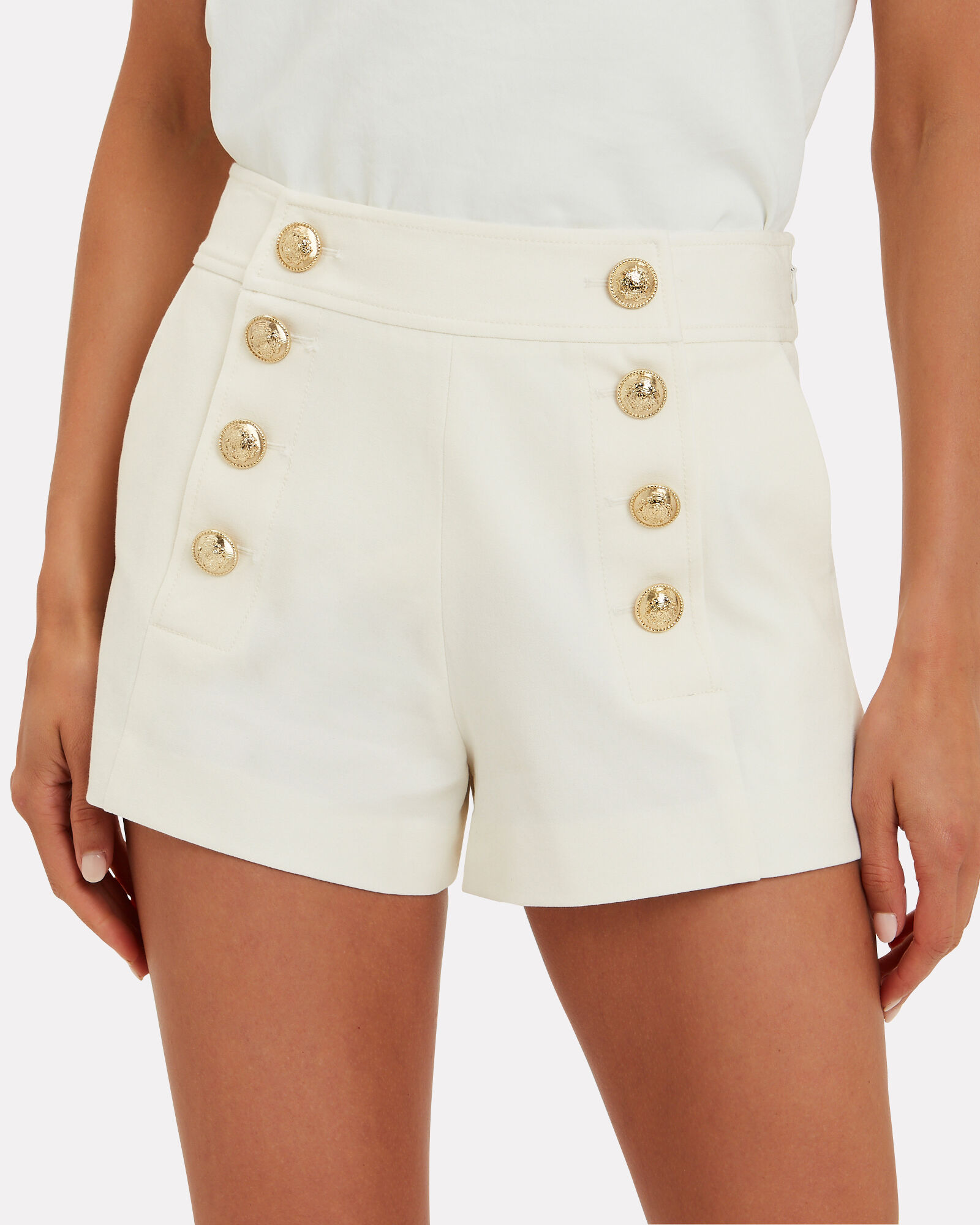Tailored Sailor Shorts, WHITE, hi-res