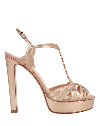 Gold Platform Sandals, GOLD, hi-res