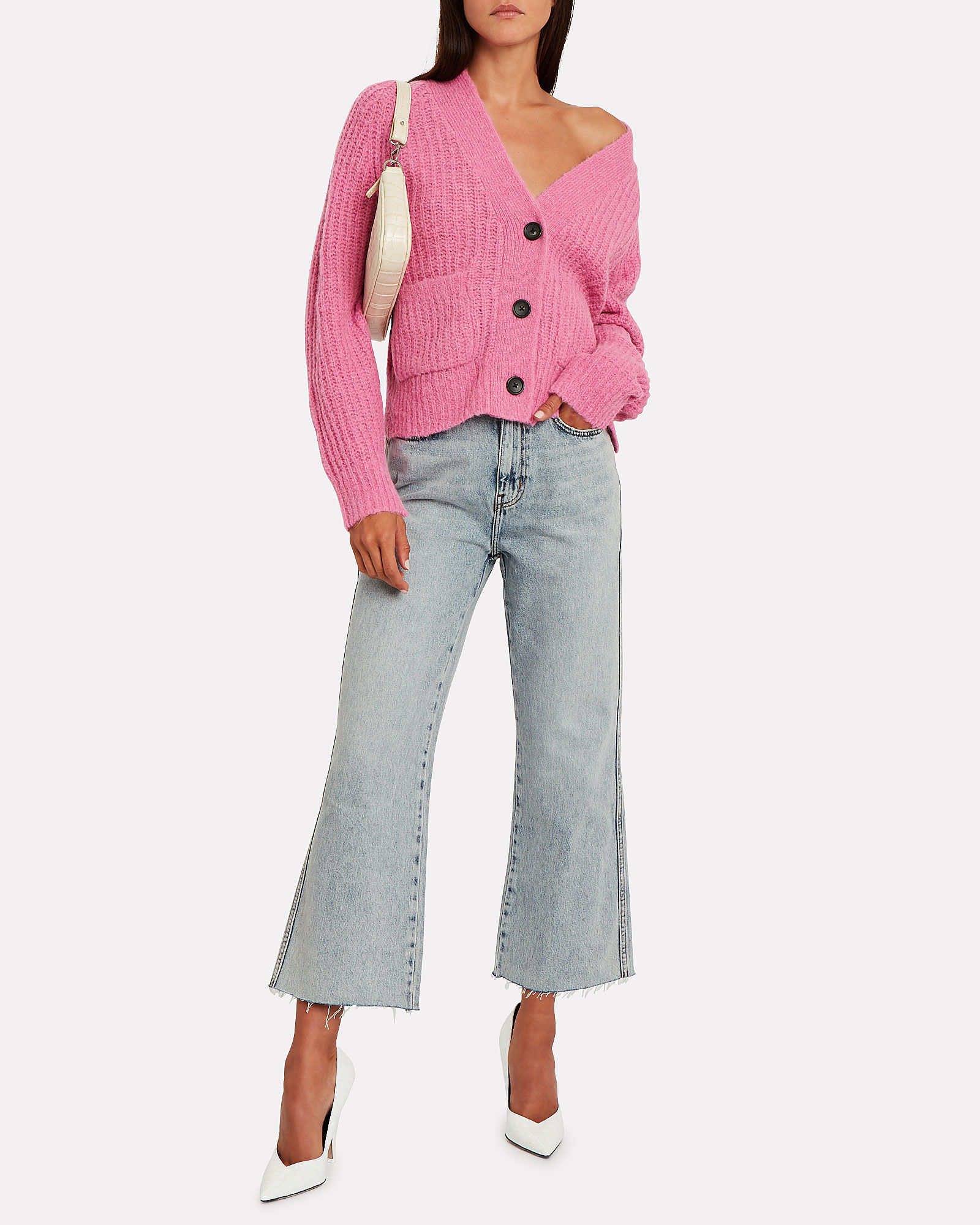 Cleveland Cable Knit Cardigan, PINK, hi-res