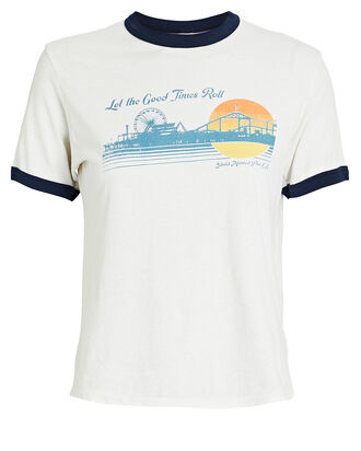 Ringer Good Times Cotton T-Shirt, WHITE, hi-res
