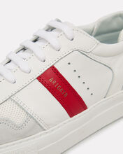 Platform Striped Leather Sneakers, WHITE/RED, hi-res