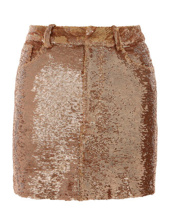 Bronze Sequin Mini Skirt, METALLIC, hi-res