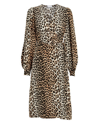 Crepe Mixed Leopard Wrap Dress, LEOPARD, hi-res