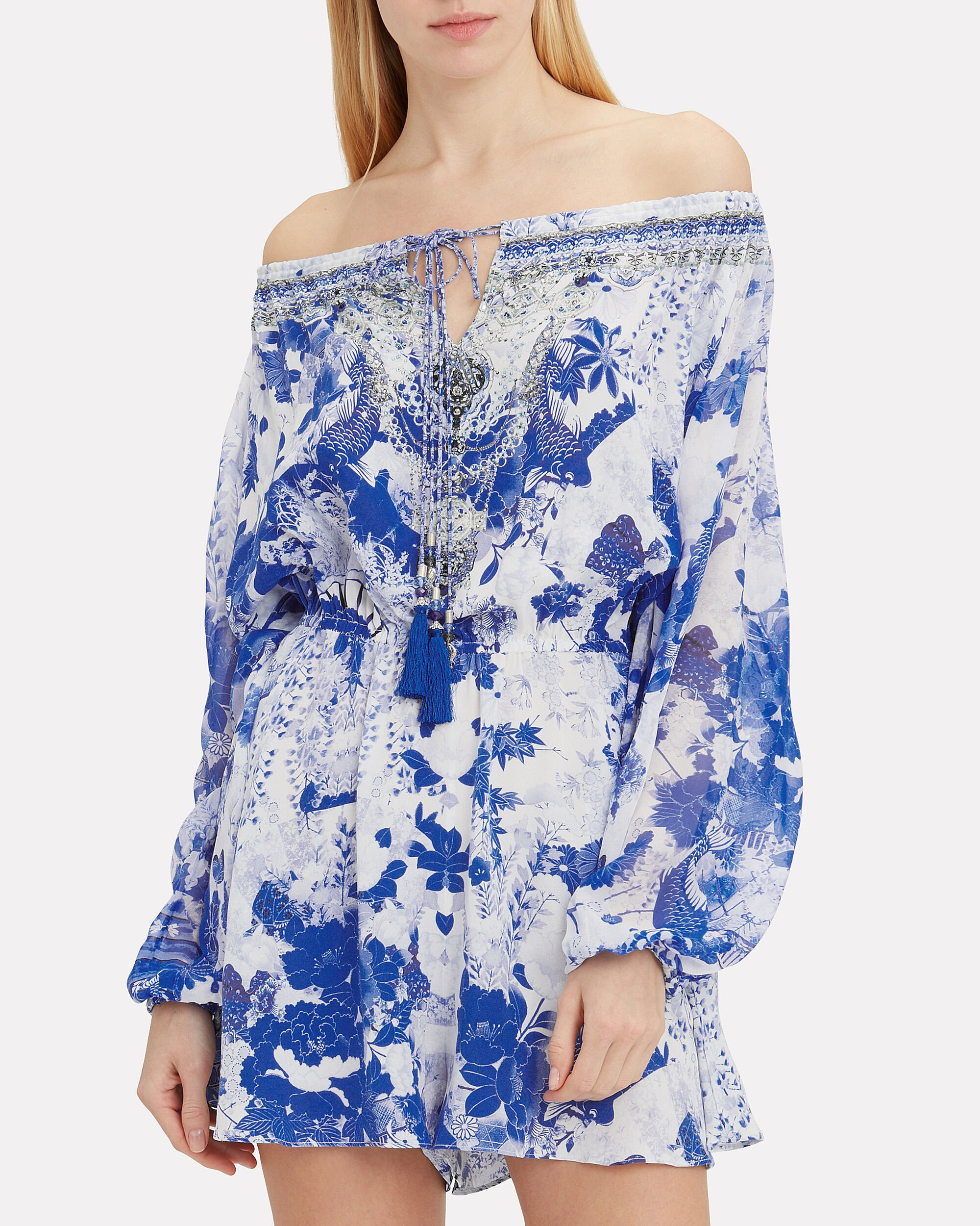 Blouson Sleeve Floral-Printed Playsuit, WHITE/BLUE, hi-res