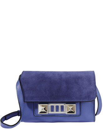 PS11 Wallet Blue Suede Bag, BLUE-MED, hi-res