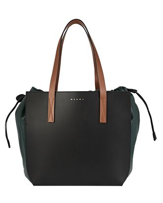 Leather Gusset Tote Bag, BLACK, hi-res