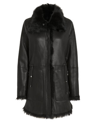High Collar Reversible Shearling Coat, BLACK, hi-res
