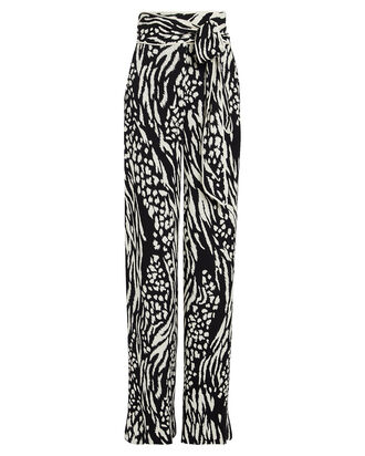 Curtis Leopard Wide Leg Trousers, BLACK/WHITE, hi-res