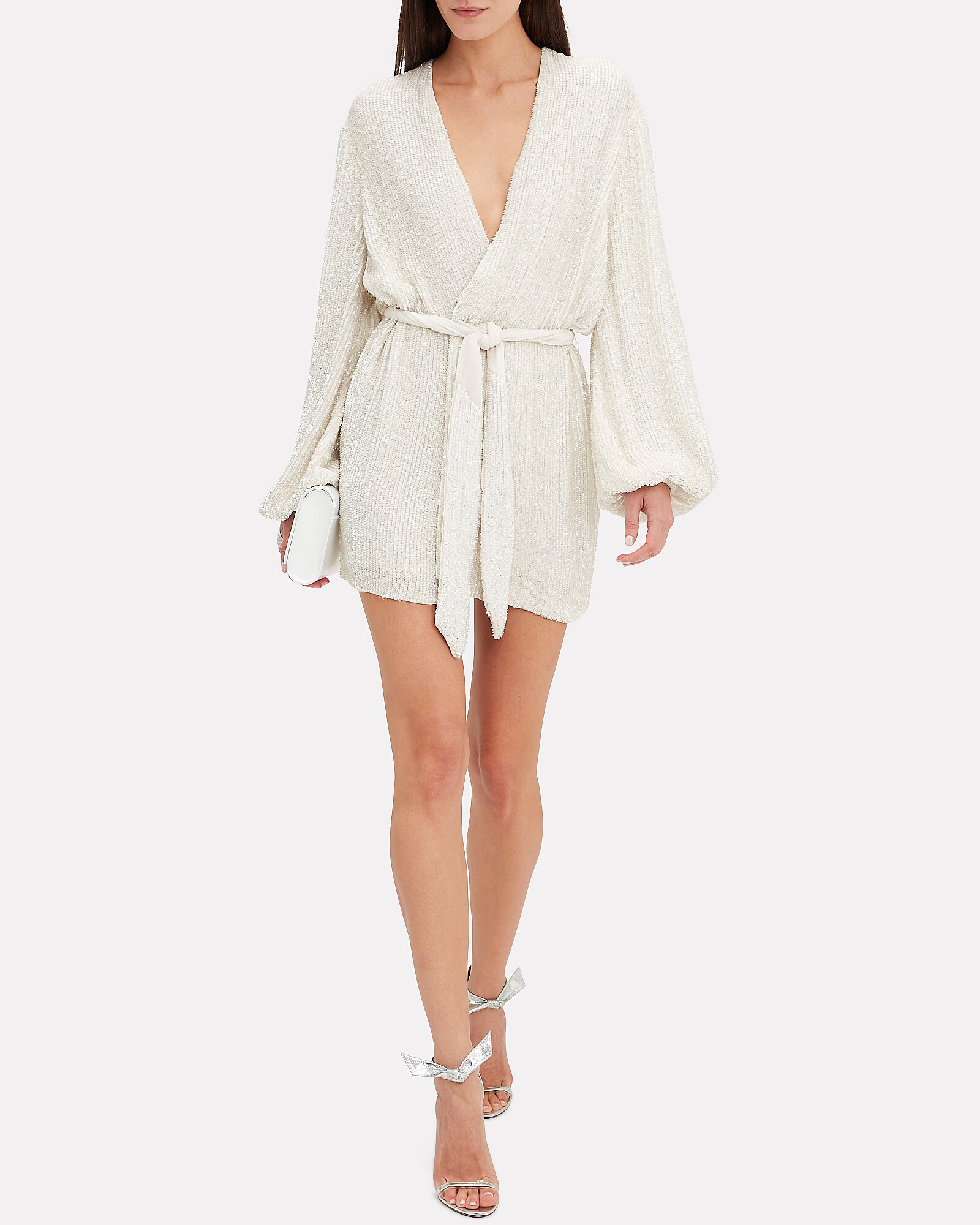 Gabrielle Sequin Mini Dress, WHITE, hi-res