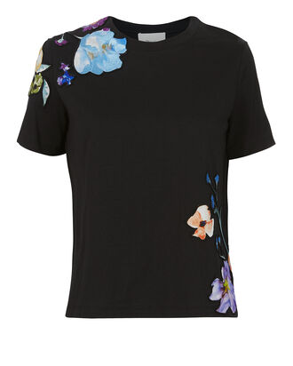 Floral Appliqué Tee, BLACK, hi-res