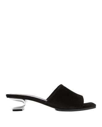 Sarah Metal Cutout Suede Slide Sandals, BLACK, hi-res