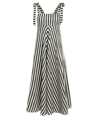 Honour Striped Linen Dress, WHITE/NAVY, hi-res