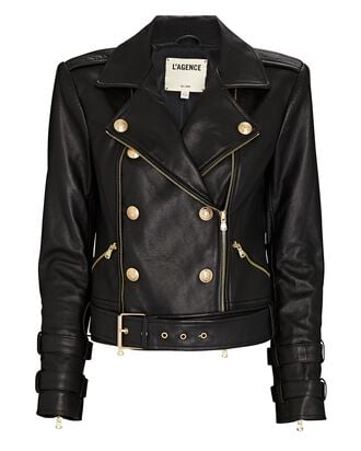 Billie Double-Breasted Leather Jacket, BLACK, hi-res