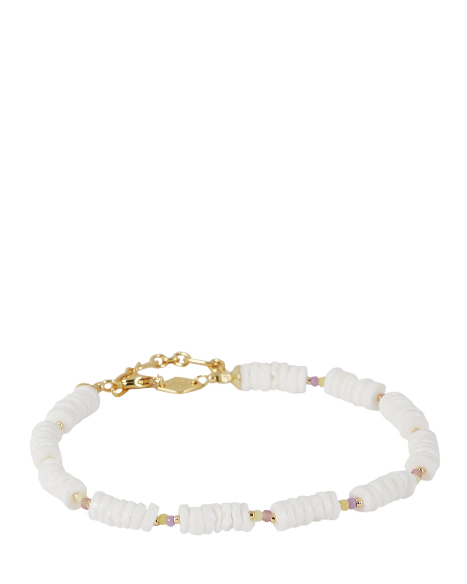 x TERRY Puka Shell Beaded Anklet, WHITE, hi-res