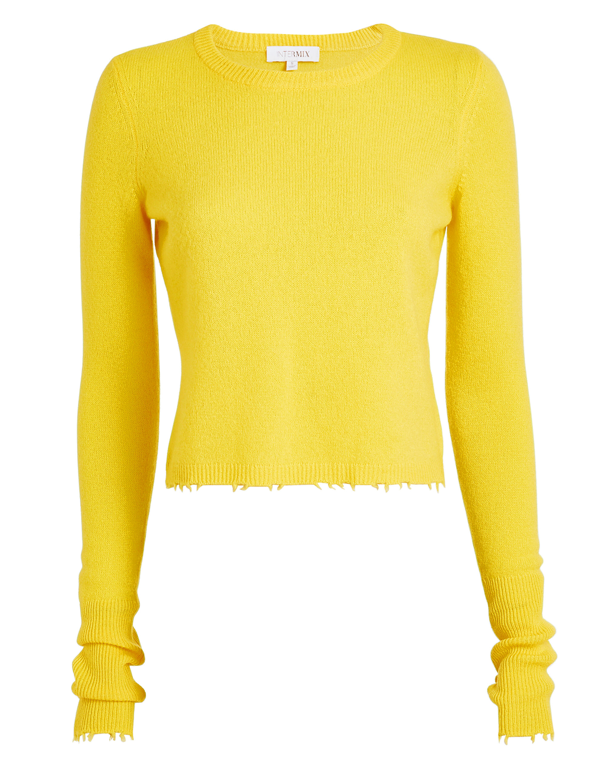 Valencia Cropped Cashmere Yellow Sweater, YELLOW, hi-res