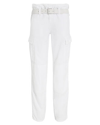 Salinger Belted Cotton Cargo Pants, WHITE, hi-res