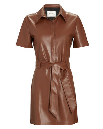 Halli Vegan Leather Shirt Dress, BROWN, hi-res