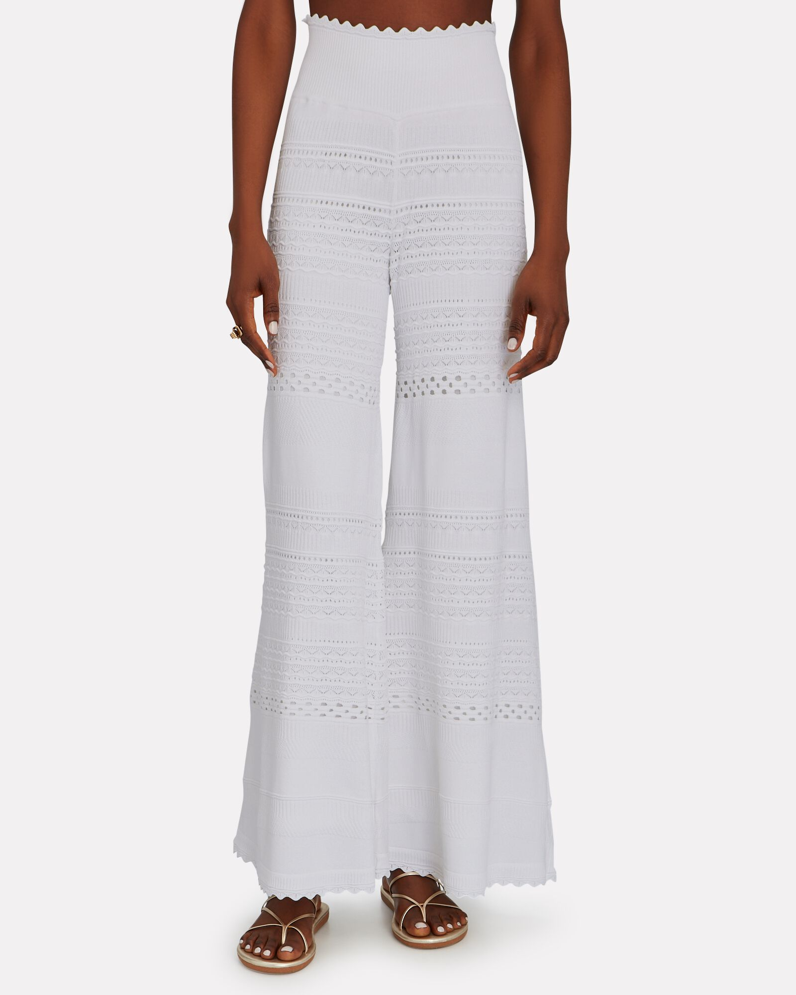 Haruko Pointelle Knit Pants, WHITE, hi-res