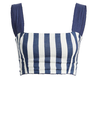 Cacao Striped Linen Crop Top, NAVY/WHITE, hi-res