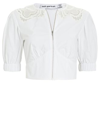 Guipure Lace-Trimmed Poplin Top, WHITE, hi-res